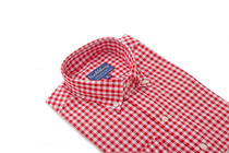 Red orchard gingham slim collar