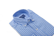 Sky Blue Orchard Gingham Slim Collar