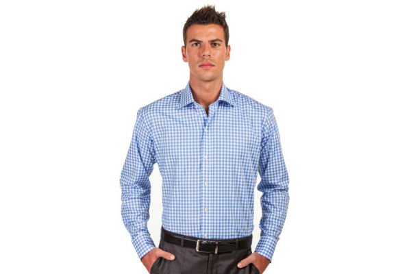 Sky Blue Gingham Shirts by Hucklebury
